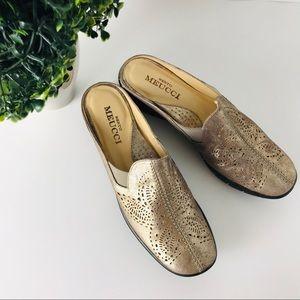 NWOB Sesto Meucci | gold metallic mules slides